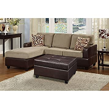 Boss Furniture F7669 Pebble Microfiber Upholstered Sectional Sofa With Chaise And Ottoman