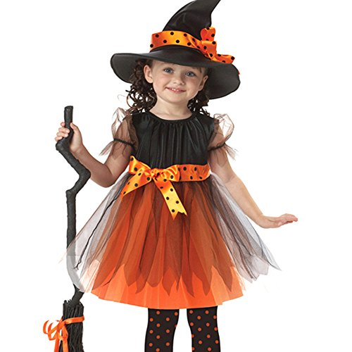 Dilefasion Children Halloween Witch Skirt Suit Cosplay Girls Costume with Hat