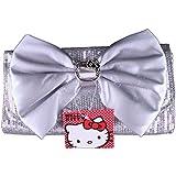 Hello Kitty Silver Sequin Clutch Purse w/ Silver Bow