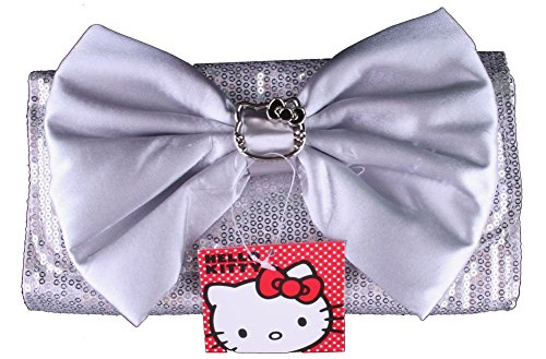 Hello Kitty Silver Sequin Clutch Purse w/ Silver Bow