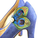 Holiday Gift! KISSPAT One Pair Of Elegant Handmade Peacock Feather Shoe Clips, Professional Metal Shoe Clip & Pin Attached, Handmade Shoes Clip, Bridesmaid Gift, 100% Handmade(With Shinny Rhinestone)