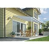 Hochwertige Aluminium Terrassenüberdachung, Terrassendach 300x305 cm (TxB) - weiß inkl. Befestigung