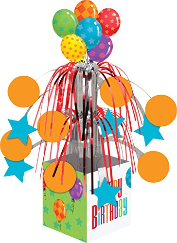 Creative Converting Balloon Patterns Centerpiece with Mini Cascade and Base, Multicolor
