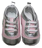 Infant Toddler Girl's Pink and Silver Shoe with Heart Embroidery