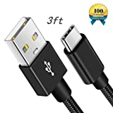Type C Charger Cable,NIFENY USB C to USB A Quick Charging Cord,Nylon Braided Data Sync Cable Compatible with Moto Z Z2 Z3,Google Pixel XL 2 3,Galaxy S9 S8 Plus Note 9 8 and More.(3ft Black) (Color: 3ft Black, Tamaño: 3 Feet)