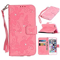 iPhone 6/6S Plus Case, KAMII Luxury Premium PU Leather Magnetic Flap Closure with Setting Shiny Diamond & Butterfly Flower Pattern Anti-scratch Shockproof Case for Apple iPhone 6/6S Plus 5.5\'\' (Pink)