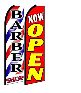 Amazon.com: Barber Shop, Now Open King Size Swooper Flag Sign Pack of ...
