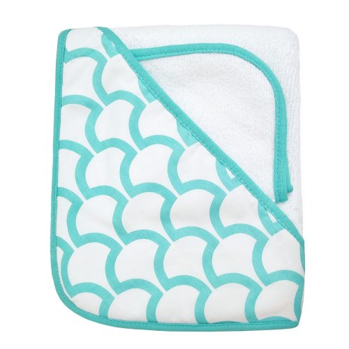 American Baby Company 100% Organic Cotton Terry Hooded Towel Set, White with Aqua Sea Waves - 1