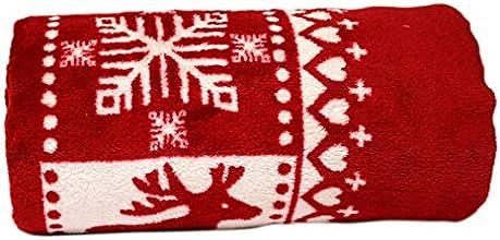 Soleil d'Ocre 512172 Deer Plaid Polaire Imprimé Microfibre Rouge 150 x 130 cm