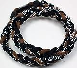 "20"" Brown Black Titanium Sports Tornado Necklace w/ Case"