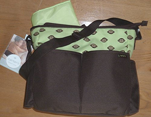 Carter's Novelty Diaper Bag Tote with Changing Pad Monkey Brown Green