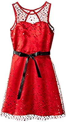 Emily West Big Girls' Cascading Foil Printed Illusion Neckline Dress from Emily West Girls 7-16