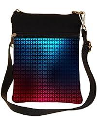 Snoogg Blue And Red Pattern Design Cross Body Tote Bag / Shoulder Sling Carry Bag