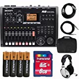 Zoom R8 R 8 Track Multi-Channel Digital Studio Recorder with Carrying Case, 8GB SD Card, Headphones, Cables, and Battery Bundle