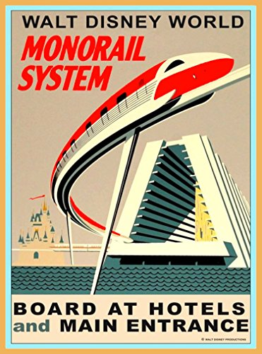 Walt Disney World Orlando Florida Monorail System United States of America Vintage Travel Advertisement Art Poster. Poster measures 10 x 13.5 inches (Walt Disney World In Pictures compare prices)