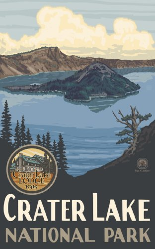 Northwest Art Mall Crater Lake National Park Oregon Wall Art Print by Paul A Lanquist, 11 by 17-Inch