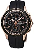Coutura Rose Gold Stainless Steel Case Alarm Chronograph Black Dial Rubber Strap