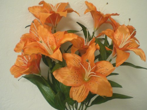 Artificial Flower Orange Large Tiger Lily 9 Silk Flowers