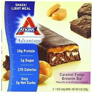 Atkins Advantage Caramel Bars, Fudge Brownie, 1.6-Ounce Bars, 5-Count (Pack of 3)