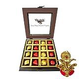 Chocholik Luxury Chocolates - 16pc Lovers Delight Chocolate Box With Ganesha Idol - Diwali Gifts