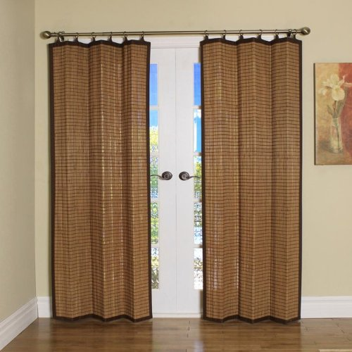 Bamboo Shades Bamboo Ring Top Curtain Brp07 40 Inch L X 84 Inch H Panel Colonial Brown