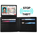 Travelambo Genuine Leather RFID Blocking Wallet Mens Credit Card Bifold Wallets Purses in Black - Stop Electronic Pick Pocketing - Credit Card Protector - Stop RFID Scans