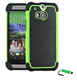 TeKKno® HTC ONE M8 Protective Shock Proof Stylish Dual Case Cover + LCD Guard + Stylus Touch Pen / Green