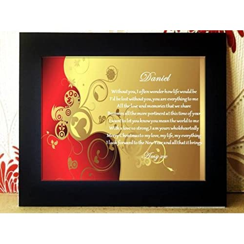 Personalised Christmas Cards. Picture Frame Mounted Christmas Card with Poem. Complete with gift box. A lovely...