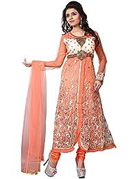 Pal-Pal Women Net & Silk Salwar Suit (Orange)
