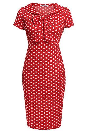 ANGVNS Women's Vintage Polka Dot Neck 1950