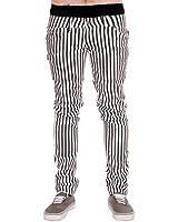 Jist - Jeans Pour Hommes Rayures Blanc Noir Rock Punk Rétro Gothique