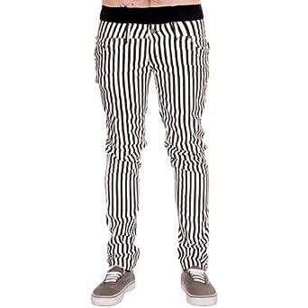 Jist - Jeans Pour Hommes Rayures Blanc Noir Rock Punk Rétro Gothique - Blanc et Noir, 28W x Regular