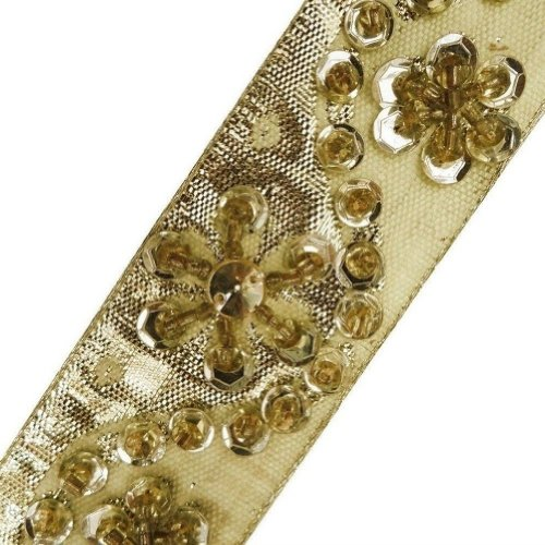 Light Gold Beaded Trim Light Gold Sequin Border Decorative Lace Sewing Craft 3 Yd