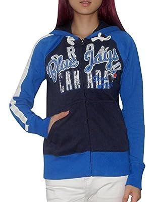 MLB TORONTO BLUE JAYS Womens Athletic Zip-Up Hoodie (Vintage Look)