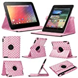 Stuff4 MR-NX7-L360-PD-LPW-STY-SP Polka Dot Designed Leather Smart Case with 360 Degree Rotating Swivel Action and Free Screen Protector/Stylus Touch Pen for 7 inch Google Nexus 7 - Light Pink/White