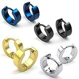 KONOV Jewelry Mens Stainless Steel Classic Plain Huggie Hinged Hoop Earrings, 4 Pairs, Black Blue Gold Silver