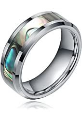 TIGRADE 8mm Tungsten / Titanium Abalone Shell Inlay Polished Finish Step Edge Ring Wedding Band