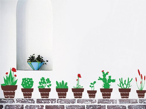 Pop Decors Removable Vinyl Art Wall Decals Mural for Nursery Room, A Set of Nine Different Flower Pots