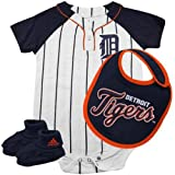Detroit Tigers adidas Baby 3pc Creeper Bib and Booties Set