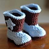 Cowboy Baby Bootie Boots Handmade Crochet Baby Boots Toddler Shoes Blue with Apricot 10cm