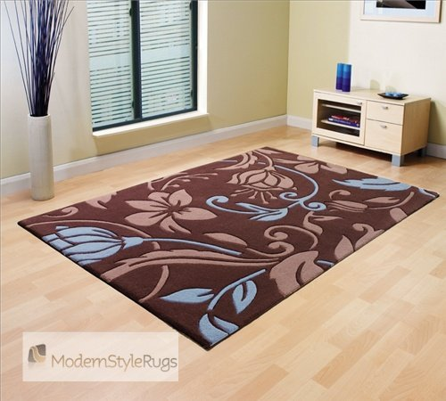 Damask Brown Duck Egg Blue Large Luxury Thick Designer Modern Rugs 4 SIZES AVAILABLE, 160x220cm (5ft6''x7ft4'')