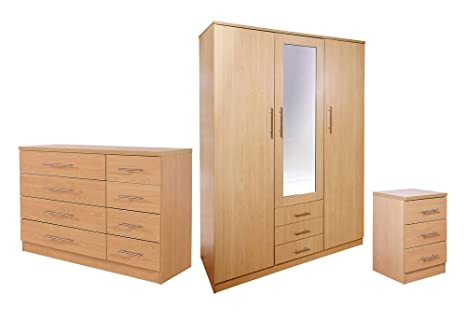 GFW Las Vegas Range 3 Piece Bedroom Set - 3 Drawer Bedside + 4+4 Chest + 3 Door Robe with Mirror - Beech Colour