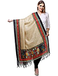 Beige & Black Printed Art Silk Dupatta
