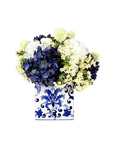 Creative Displays Inc. Mixed Hydrangea and Allium Arrangement, White/Blue