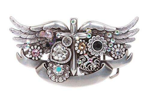 Sterling Silver Winged Dagger Rhinestone Buckle Color: Silver