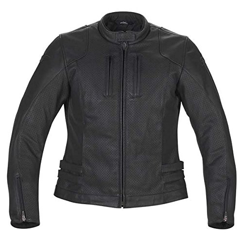 Alpinestars Stella NYC Women's Leather Sports Bike Racing Motorcycle Jacket - Black / Size 48