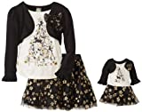 Dollie & Me Girls 2-6X Christmas Tress Tutu and Tee Set, Black, 6