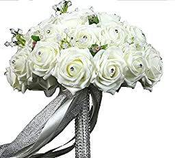 PGS?Lace Pearl Rose Holding Wedding Bridesmaid Bouquet with Flower Ivory