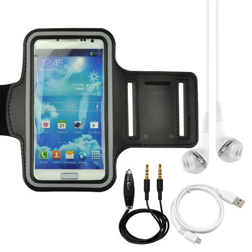 Black Sports Armband For Nokia Lumia 1020 920 Samsung Galaxy S4 I9500 Lg Nexus 5 + White Headphone + White Usb Sync Cable + Black Auxiliary Cable