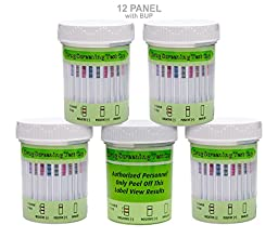 5 Pack UCP Biosciences 12 Panel Drug Test Cup with BUP - Testing Instantly for 12 Different Drugs (THC), (COC), (MDMA), (OXY), (OPI300), (MET), (AMP), (MTD), (BZO), (BAR), (PCP), (BUP) #UCP-12-BUP